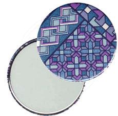 Taschenspiegel, Handspiegel, Button,59 mm,Chiyogami Yuzen Papier,Muster blau pink