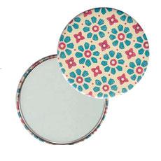 Taschenspiegel, Handspiegel, Button,59 mm,Nepal Papier, Carta Varese Papier,Blümchen blau rot