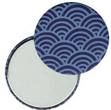 Taschenspiegel, Handspiegel, Button,59 mm,Chiyogami Yuzen Papier,Halbkreise dunkelblau