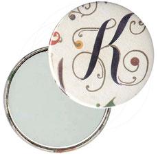 Taschenspiegel, Handspiegel, Button,59 mm,Florentiner Papier ,Alphabetum mit Golddruck