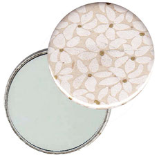 Taschenspiegel, Handspiegel, Button,59 mm,Nepal Papier,Blätter Blüten weiß gold