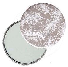 Taschenspiegel, Handspiegel, Button,59 mm,Baumwoll Papier, weiße Federn auf grau