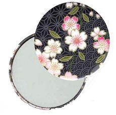 Taschenspiegel, Handspiegel, Button,59 mm,Chiyogami Yuzen Papier,Kirschblüten rosa weiß auf schwarz