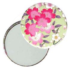 Taschenspiegel, Handspiegel, Button,59 mm,Chiyogami Yuzen Papier,Apfelblüten hellgrün rosa