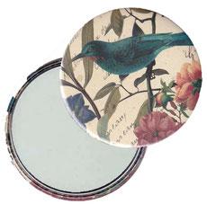 Taschenspiegel, Handspiegel, Button,59 mm,Florentiner Papier Kolibri