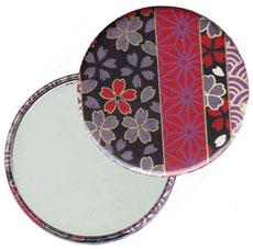 Taschenspiegel, Handspiegel, Button,59 mm,Chiyogami Yuzen Papier,Streifenmuster Blümchen auf schwarz