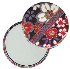 Taschenspiegel, Handspiegel, Button,59 mm,Chiyogami Yuzen Papier,Streifenmuster Blümchen auf schwarz 2