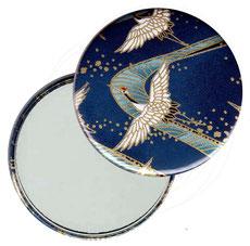 Taschenspiegel, Handspiegel, Button,59 mm,Chiyogami Yuzen Papier,Kraniche blau gold