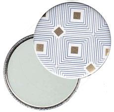 Taschenspiegel, Handspiegel, Button,59 mm,Florentiner Papier ,Carré d´Or  mit Golddruck