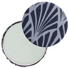 Taschenspiegel, Handspiegel, Button,59 mm,Nepal Papier, Jugenstilfächer hellblau  dunkelblau