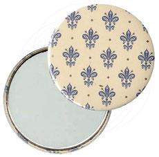 Taschenspiegel, Handspiegel, Button,59 mm,Florentiner Papier , Blumenkrönchen blau  mit Golddruck