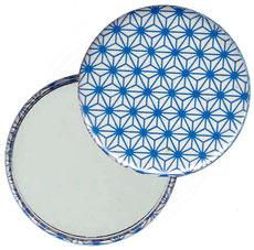 Taschenspiegel, Handspiegel, Button,59 mm,Chiyogami Yuzen Papier,Sternenmuster,hellblau