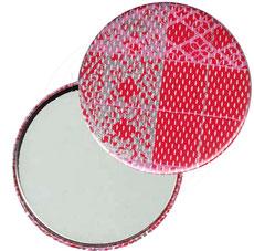 Taschenspiegel, Handspiegel, Button,59 mm,Chiyogami Yuzen Papier,Streifen rot rosa silber
