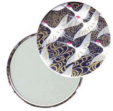 Taschenspiegel, Handspiegel, Button,59 mm,Chiyogami Yuzen Papier,Kraniche dunkelblau gold