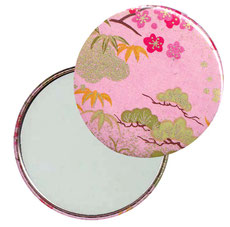 Taschenspiegel, Handspiegel, Button,59 mm,Chiyogami Yuzen Papier,Kirschblüten Wiese rosa  grün gold