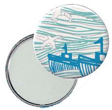 Taschenspiegel, Handspiegel, Button,59 mm,Baumwoll Papier, Ozean blau silber beige