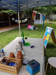 """Sommerfest mit der Buchhandlung """"Herr Holgersson"""" im Garten vom Bio-Markt Planz"""