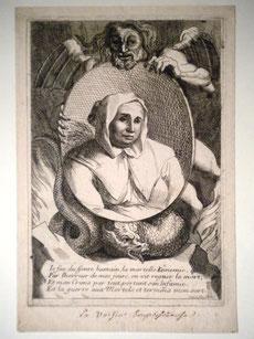 Catherine de Médicis consultait les voyantes et Nostradamus - Estampe tirée du Mercure galant, XVIIe siècle