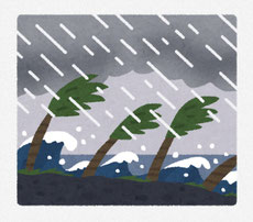 台風 ヤシの木が風で曲がるイラスト