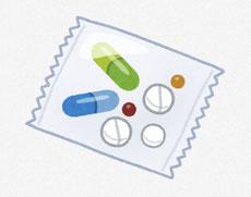 袋に包まれている薬 イラスト