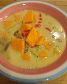 Süßkartoffel, Curry, Lauch, Pilze