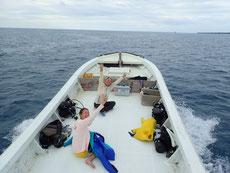 石垣島を出港するダイビングボート「HARU」号