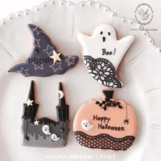 ALAアイシングクッキー作品例、おばけやかぼちゃ、ハロウィンデザイン