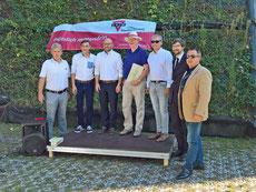 Herr Rossius (2.v.l), Herr René Wilke (OB Stadt Frankfurt (Oder), Falck Bell (4.v.links), Michael Treptow und Harald Schmid (rechts) , 15.08.2018, Foto: ROG