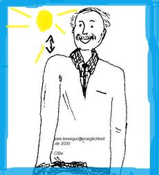 Zeichnung eines Mannes, der eine Schulter hebt