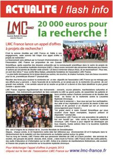 lmc france appel projet recherche leucemie myeloide chronique leucémie myéloïde  20 000 euros aide don