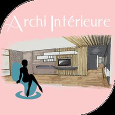 architecture intérieure séjour avec mur bleu paon / bleu canard, chaises jaunes, cuisine ouverte sur le séjour, faux plafond cuisine.