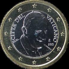 Effigie du Pape François sur une pièce de 1 euro.