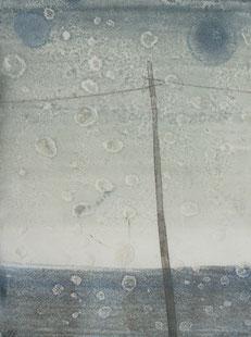 Across the sky Ⅰ 油彩 木版モノタイプ 20×15