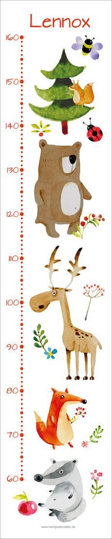 mit Name personalisierbare Kindermesslatte mit niedlichen Waldtieren, Dachs, Fuchs, Hirsch, Bär und Eichhörnchen in Aquarell-Art,  auf Posterpapier gedruckt oder als Wandaufkleber
