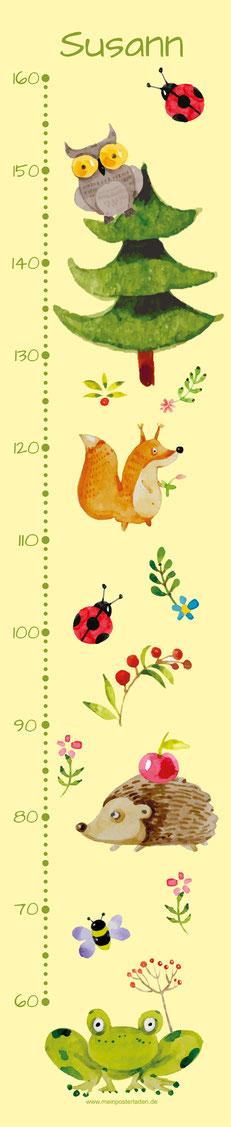 mit Name personalisierbare Kindermesslatte mit niedlichen Waldtieren, Frosch, Igel, Marienkäfer, Eichhörnchen, Eule in Aquarell-Art,  auf Posterpapier gedruckt oder als Wandaufkleber