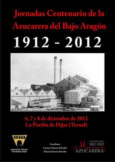 """Portada libro """"Jornadas Centenario de la Azucarera del Bajo Aragón"""""""