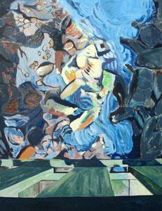 Holzbrücke,klein, 2010, Öl auf Leinwand, 130 x 100 cm
