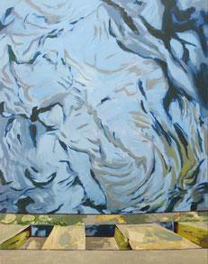 Holzbrücke, 2010, Öl auf Leinwand, 190 x 150 cm