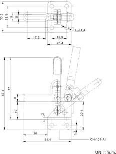 ZeichnungSenkrechtspanner Vertikalspanner mit waagrechtem Fuß CH-101-A CH-101-AI