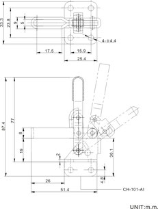 Drawing vertical clamp with mounting base CH-101-A CH-101-AI