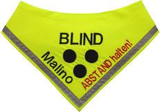 blind dog, Halsband, Loop, Blinder Hund, Blindenhund, Halstuch, Blindenhalstuch, Blindenbegleithund, Blinden Logo, Halstuch für blinde Hunde, Blindenhalstuch, blind, neon, blind dog, halsduk, scarf
