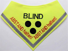 blind, Abstand halten, Halstuch, blinder Hund