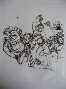Verwickelt 24 x 18 Federzeichnung 2004
