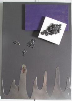 acier inoxydable sur toile peinte, acier, bois peint