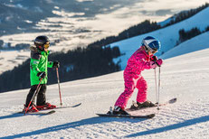 Skiing for children, families, children ski area, wide easy slopes