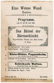 Filmplakat Kino Weisse Wand 1918