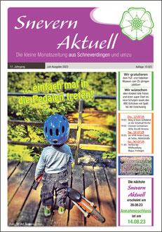 """Die Ansicht der Titelseite der Zeitung """"Snevern aktuell"""", gesetzt bei Astrid Röben Printmedien in Neuenkirchen."""