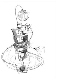 Pegasus im Keller, 2007, Tusche auf Papier, 59,4 x 84 cm