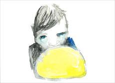 Cherub mit einem Eidotter, 2011, Aquarell und Buntstift auf Papier, 21 x 29,7 cm