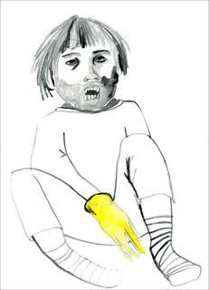 Yellow Vampire, 2011, Aquarell und Bleistift auf Papier, 29,7 x 42 cm